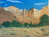 Landscape Mountains West - Zion National Park - Utah - Oil On Canvas