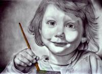 The Artist - Graphite Pencils Prismacolors Drawings - By Prashanth B, Realism Drawing Artist