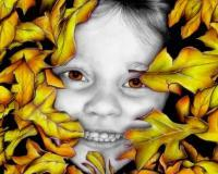 Mixed Media - Autumn Child - Graphite Pencils Prismacolors