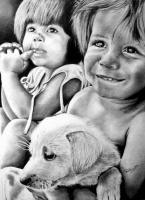 Puppy Love - Graphite Pencil Drawings - By Prashanth B, Realism Drawing Artist