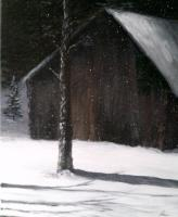 Barn Scenes - Snowing In The Pines - Acrylic