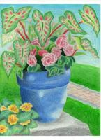 Early Work - Blue Pot Wih Flowers - Colored Pencil