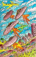 Aliens And Robots - Ufo Formation - Pen Watercolor Colored Pencils