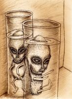 Aliens And Robots - The Site - Ball Point Pen And Ink