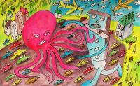 Aliens And Robots - Robot Vs Giant Octopus - Pen Watercolor Colored Pencils