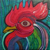 Head Of Rooster To Fabelo - Acrylics Paintings - By Jose Miguel Perez Hernandez, Figurative Painting Artist