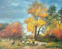 Autumn - With Sheep On Pasture - Oil On Canvas