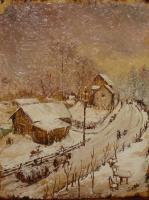 Winter - Winter In Azuga - Oil On Wood