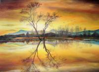Autumn - Sunset On The Lake - Oil On Canvas
