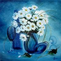 Flowers - Daisies - Oil On Canvas