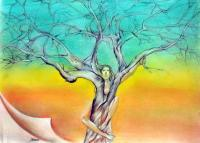 Mine Tree-Turns - Mixed Media Drawings - By John Biro, Drawing Drawing Artist