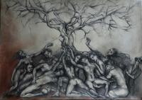 Drawing - Below The Big Tree - Charcoal