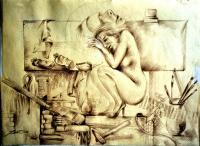 Drawing - Model In Studio - Pencil