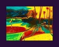The Palms Driving Range - Watercolor Paintings - By Mako Hughes, Unique Usage Of Pure Colors Painting Artist