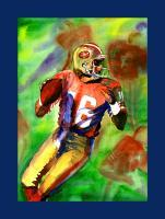 Joe Montana - Watercolor Paintings - By Mako Hughes, Unique Usage Of Pure Colors Painting Artist