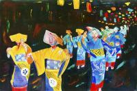 Shimoda Matsuri - Watercolor Paintings - By Mako Hughes, Unique Usage Of Pure Colors Painting Artist