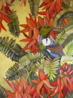 Essence Of New Zealand - New Zealand Tui And Kaka Beak Flowers - Acrylic On  Canvas