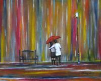 Romantic Paintings - Love In The Rain Colorful Romantic Painting - Acrylic On Canvas Paper