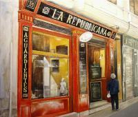 La Republicana Bar - Oil On Canvas Paintings - By Tomas Castano, Realistic Painting Artist