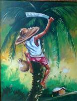 Landscape - Palm Wine Tapper - Oil On Canvas