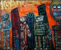They Live - Original Robots Outsider Raw Fantasy Art Ebsq - Mixed Media Paintings - By Laura Barbosa, Outsider Art Painting Artist