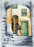 Pen And Wash - Courtyard - Pen And Wash