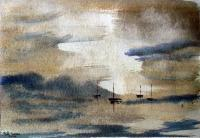Impressionist - Lake And Boats 2 - Watercolour