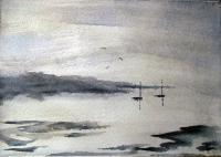 Impressionist - Lake And Boats 5 - Watercolour