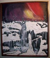 Winter Falls - Winter Falls Under Northern Lights - Acrylic On Panel W Raised Mode