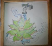Free Hand Art - Floating Lotus Under Running Faucet - Mixed