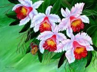 Cattelya Orchid - Acrylic Paintings - By Fram Cama, Still Life Painting Artist