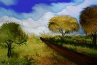 The Way To The Snowy Mountains - Mixed Media Paintings - By Rafi Talby, Mixed Media Painting Artist