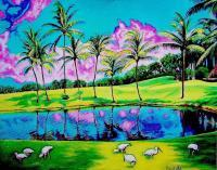 Impressionism - Great Day In Miami - Oil On Canvas