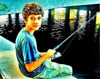 Impressionism - Fishing Under Bridge - Oil On Canvas