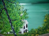 Lake Side Church - Acrylic Paintings - By Mike Arechiga, Detail Painting Artist