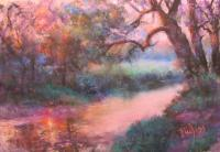 Landscape - Sun Going Down On Cocalico Creek - Pastel