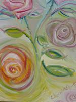Flowers - Roses Dialogue Part Two - Oil On Canvas