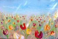Flowers - Waving Tulips Nuvole E Tulipani - Oil On Canvas
