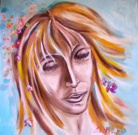 Portraits - Blues Woman In Flower Tribute To Francesca De Fazi - Oil On Canvas