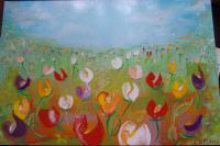 Flowers - Spring Tulips - Oil On Canvas