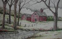 Barns  Houses - Storm Clouds Coming - Mixed Media