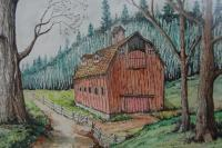 Barns  Houses - Old Country Barn - Mixed Media