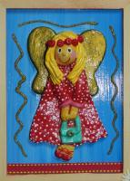 Polka Dot Angel - Salt Dough And Acrylic Other - By Anna Kupis, Inspirational Other Artist