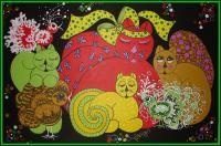 Lapithea Gallery - 02693 - Whimsical Felines Vii - Acrylic On Canvas