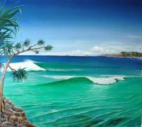 Serenity Beach - Oil On Hardboard Paintings - By Wayne French, Realism Painting Artist