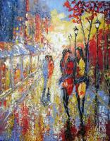 Palette-Knife  Paintings - Friday Night - Oil