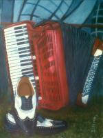 Basotho Still Life - Accordion - Acrylic On Canvas