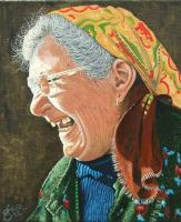 Baba Stoyanka - Enamel Paint Paintings - By George Docherty, Portrait Painting Artist