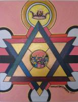 Royal Star Of David - Acrylic  Oil On Canvas Paintings - By Richard Rosenberg, Judaica Painting Artist