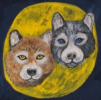 Animals - Wolf Moon - Gouache